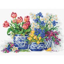 Набір для вишивання хрестиком, Luca-S, Весняниі квіти (B2386)