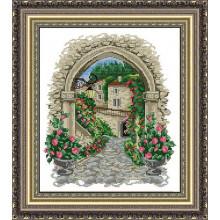 Набір для вишивання хрестиком Леді, арка у квітах,  01076