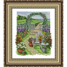 Набір для вишивання хрестиком Леді, літній садочок,  01077