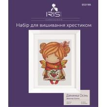 Набір для вишивання хрестиком Iris Design, Дівчинка Осінь на Аіді (05319A)