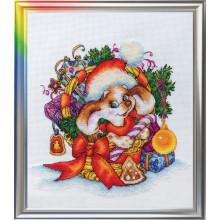 Набор для вышивания крестиком ЛанСвит, Новогодний щенок (Д-056)
