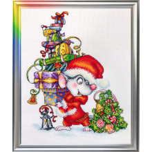 "Cross-Stitch Kit ""Little Mouse Santa"" LanSvit D-058"