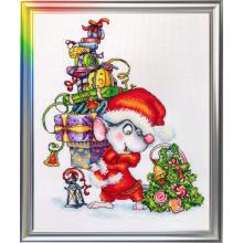 Набор для вышивания ЛанСвит, Мышонок Санта (Д-058)