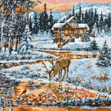 "Cross-Stitch Kit ""Snowy Cabin ""  Luca-S (BU4022)"