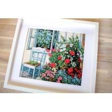 """Cross-Stitch Kit """"Terrace with Flowers """"  Luca-S (BU4017)"""
