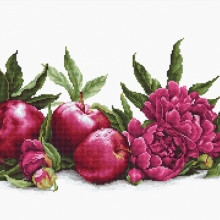 "Cross-Stitch Kit ""Peonies and Red Apples""  Luca-S (BA2357)"